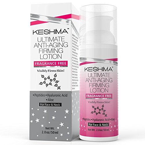 Keshima Face & Neck Firming Cream - Fragrance Free - Tightens Loose and Sagging Skin - Smooths Wrinkles and Fine Lines - 2 Oz.