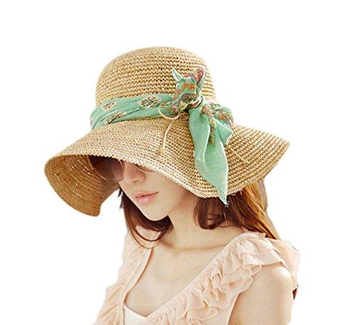 JUNGEN Floppy Chapeau Wide Brim Chapeau De Soleil Fashion Voyage Femme Filles Chapeau de Plage idéal pour Vacances avec Vert Ruban de Soie 1 PCS