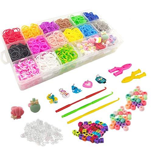 3000+ elastici kit di ricarica con uncinetti, 2 clip Y, S, ciondoli, anelli carini, perline, fai da te, ottimo regalo per bambini, scuola di compleanno di Natale