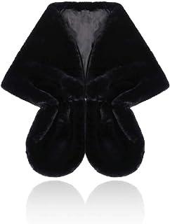 Chal - para mujer Talla única Chal de Pelo con broche Estola Mujer para Invierno Fiesta Novia Bodas Para dama de honor
