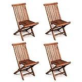 San Marco Set 4 sedie Pieghevoli in Teak per Tavolo da Esterno