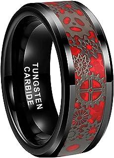 iTungsten 6mm 8mm Black Tungsten Rings for Men Women Steampunk Gear Wheel Red Carbon Fiber Inlay Beveled Edges Comfort Fit