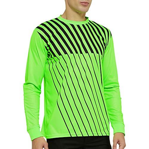 TOPTIE Adult Jugend Langarm Fußball Torwart Trikot mit Schwammschutz, Arm gepolstert Goalie Shirt-YS