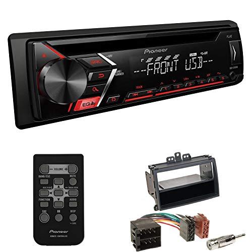 EHO Autoradio 1-DIN Einbauset passend für Hyundai i20 schwarz inkl Pioneer DEH-S101UB mit Fernbedienung