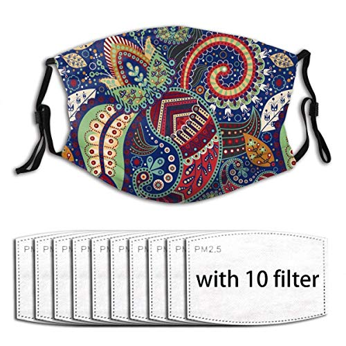 Mundschutz Ethnischer Stil Verstellbarer Anti-Staub-Gesichtsschutz Waschbares Tuch mit Filterpapier für Männer Frauen