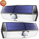 200 LED Lampe Solaire Extrieur 2 Pack 3 Modes Intelligents Lampe Solaire Etanche IPX7 Dtecteur de Mouvement Solaire Puissante Eclairage Extrieur pour Jardin, Garage, Escalier