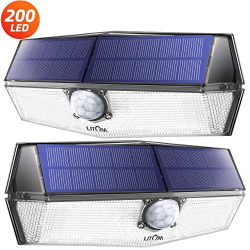 200 LED Lampe Solaire Extérieur 2 Pack 3 Modes Intelligents Lampe Solaire Etanche IPX7 Détecteur de Mouvement Solaire Puissante Eclairage Extérieur pour Jardin, Garage, Escalier