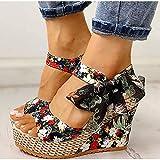 Sandalias Mujer Verano Moda Sandalias Playa Boho Floral Sandalias de cuña Correa en el Tobillo Plataforma Gladiador Zapatos Mujer Tacones Altos Sandalia