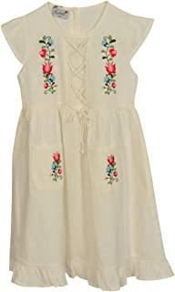 Tuana Girl's Round Neck Embroidered, Two Pocket, Sleeveless, Pure Cotton, Casual or Special Occasion Dress