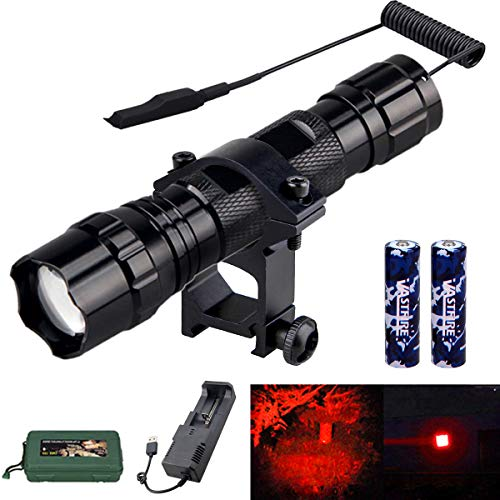 VASTFIRE Coyotes Hunting Lights for Night Red Led Adjustable Beam Flashlight Kit for Bow with 18650 Battery Pressure Switch Rail Mount