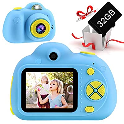 SELLOTZ Kids Camera for Boys and Girls, Digital Camera for Kids Toy Gift, Toddler Camera Birthday Gift for Age 3 4 5 6 7 8 9 10 with 32GB SD Card, Video Recorder 1080P IPS 2 Inch