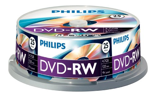 Philips DVD-RW Rohlinge (4.7 GB Data/ 120 Minuten Video, 1-4x Speed Aufnahme, 25er Spindel)