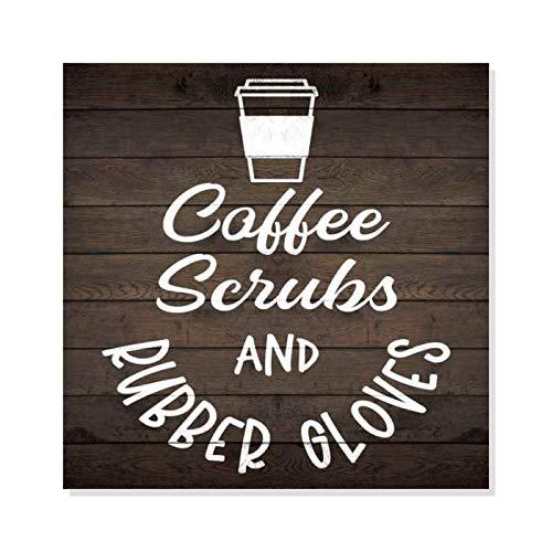 Ced454sy koffie en scrubs rustiek uitziende hout teken inspirerende muur Decor Gift teken cadeau