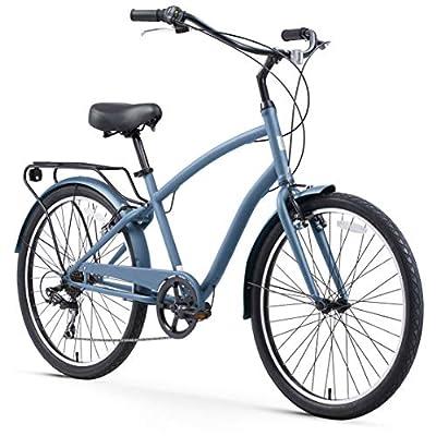 "sixthreezero EVRYjourney Steel Men's 7-Speed Sport Hybrid Cruiser Bicycle, 26"" Bicycle, Steel Blue with Black Seat and Black Grips"