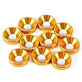Rondella Svasata, 10 Pezzi M4 Anodizzato Rondelle Svasate Guarnizione In Lega di Alluminio, con Alta Qualità e Resistenza, Colore: Oro