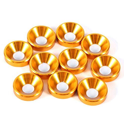 Arandela Avellanada, 10 Piezas M4 Junta de Arandelas de Cabeza Avellanada Anodizada Aleación de Aluminio, Color Dorado