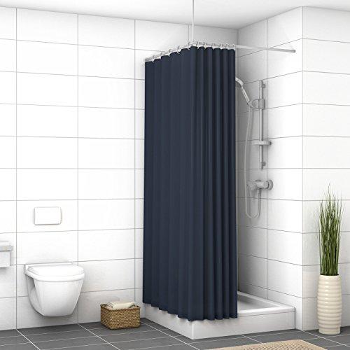 wd001p widoro cortina de ducha Premium, poliéster, azul marino, 150 x 200 cm