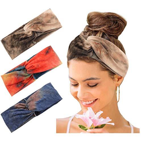 Faixa de cabelo Catery Boho tie-dye Tie Tie Headpiece Wide Knot Head Wrap Hair Band Vintage Tecido elástico Turban Criss Cross Acessórios de cabelo fashion para mulheres (pacote com 3)