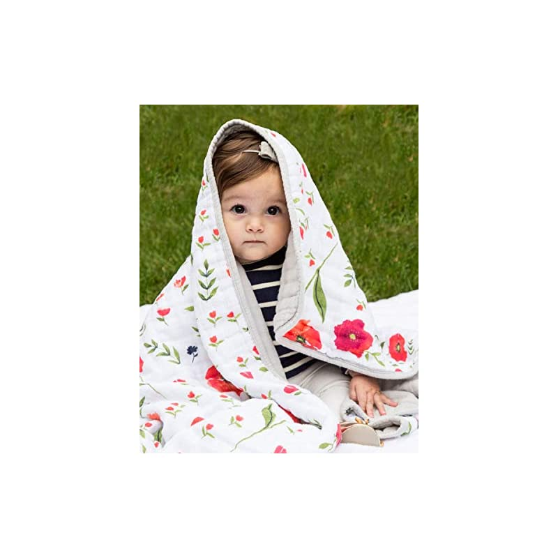 """crib bedding and baby bedding little unicorn cotton muslin quilt – 47""""x 47""""- 100% cotton – machine washable – softer with every wash – playful designs - 4 lightweight, breathable layers – for boys & girls (summer poppy)"""