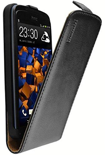 mumbi Echt Leder Flip Hülle kompatibel mit HTC Desire 500 Hülle Leder Tasche Hülle Wallet, schwarz