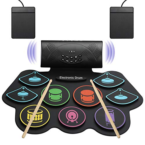 Electronic Drum Set For Kids, Foldable Adult Beginner Pro MIDI Drum Practice Mat Kit, 9 Drum Pads & 2 Electronic Drum Kits,Built-in Speakers,Suitable For Children's Holiday And Birthday Gifts