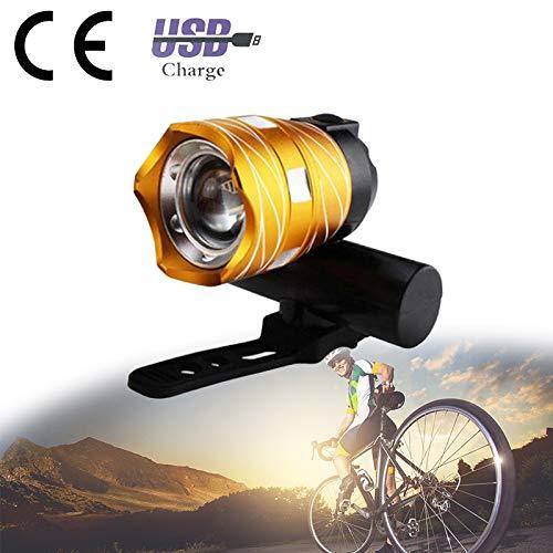 3 in 1 USB-fietskoplampen, 350 lumen Oplaadbaar fietslicht Waterdicht Multifunctioneel Lichtgewicht Powerbank Afneembaar Eenvoudig te monteren Voor fietsen Veiligheid Mountainbike,Gold