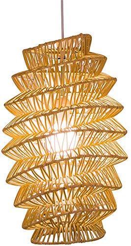 Lampadario a sud-est asiatico Lampadario a spirale creativo cinese Gabbia per uccelli naturale Lanterna in rattan naturale Art E27 Lampada fatta a mano