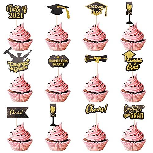 24 STKS Afstuderen Cupcake Toppers 2021 Afstudeerfeest Congrats Grad Taart Topper Decoraties Zwart en Goud Afstuderen Feestartikelen voor Grad Feestdecoraties