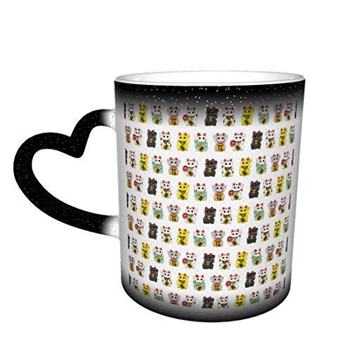 Taza de café de cerámica que cambia el calor, taza de té mágica sensible con gato de la suerte Maneki Neko para café, té, leche o cacao para hombres y mujeres