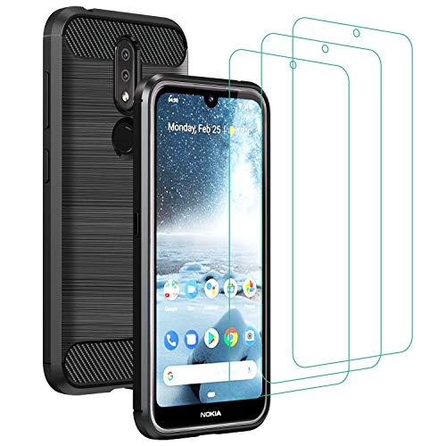 ivoler Hülle für Nokia 4.2 mit 3 Panzerglas Schutzfolie, Schwarz Stylisch Karbon Design Anti-Kratzer Handyhülle Stoßfest Schutzhülle Cover Weiche TPU Silikon Hülle