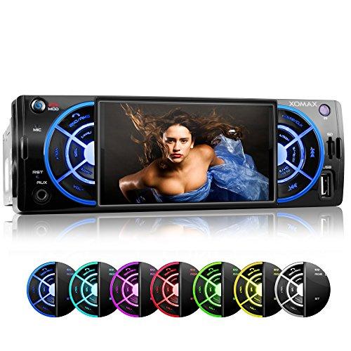 XOMAX XM-VRSU412BT Autoradio / Moniceiver mit Bluetooth Freisprecheinrichtung & Musikwiedergabe + 7 Farben einstellbar (blau, türkis, weiß, grün, gelb, lila, rot) + 10cm / 4