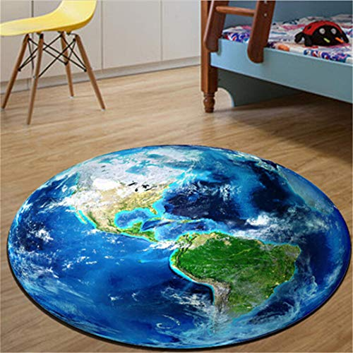 JOOFFF Planet weichen Teppich Fluffy 3D Print Erde Planet Runde Teppich Anti-Rutsch-Teppich Computer Stuhl Matten Kinderzimmer Home Decor, Erde