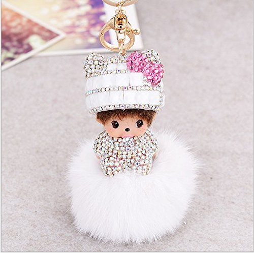 New Creative Lovely Doll Crystal Diamond Keychain Keyrings Handcrafted Bling Rhinestone Ball Pompoms Key Chain for Car Key Ring Bags Cellphone