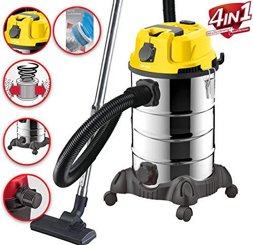 DMS® Industriestaubsauger für Nass u. Trocken Sauger | Edelstahl 2300W + Steckdose | starke Saugkraft | Blasfunktion | trocken und nass saugen | Filterreinigungssystem | großes Fassungsvermögen (Gelb)