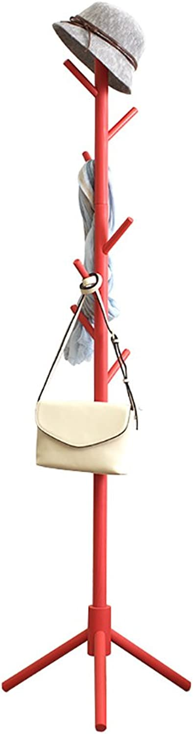 ZfgG Wooden Coat Rack Hanger Free Standing, with 8 Hooks Clothes Tree Coat Stand Storage Organizer Rack for Coats, Hats, Scarves, Clothes, and Handbags - 4 colors Optional (color   RED)