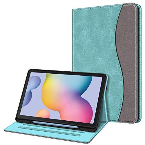 FINTIE Coque pour Samsung Galaxy Tab S6 Lite 10,4 Pouces 2020 - Etui de Protection Multi-Angle Housse de Support avec Poche de Carte et Fonction Sommeil/Réveil Automatique, Denim Turquoise