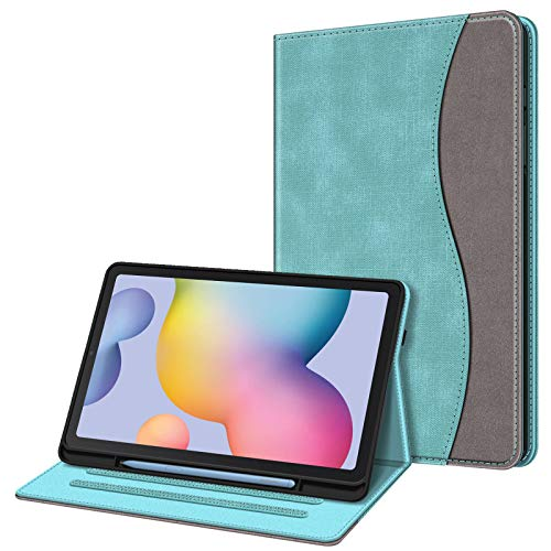 FINTIE Case for Samsung Galaxy Tab S6 Lite 10.4 Inch Tablet 2020 Release Model SM-P610 (Wi-Fi) SM-P615 (LTE) - Multi-Angle Viewing Folio Stand Cover with Pocket, Auto Wake/Sleep, Denim Turquoise