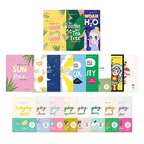FaceTory Mask Collection- Sheet mask (20pc) | Gentle, Calming, Soothing, Hydrating and Moisturizing Sheet Masks