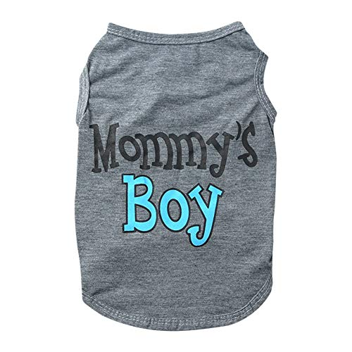 Savlot Hond Zomer Vest Katoen Kleding Mama Jongen Ademende Hond Shirts Puppy T-Shirt Voor Kleine Honden, S, Grijs