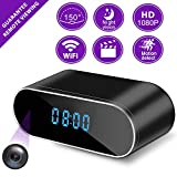 Hidden Camera Clock, WiFi Spy Security Camera Indoor, 1080P Nanny Cameras and Hidden Cameras with Night Vision and Motion Detective, Perfect 150 Angle Camera Alarm Clock for Home and Office