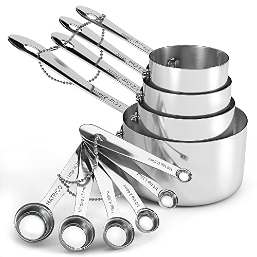 Heavyweight 10-pc Stainless Steel Measuring Cups and Spoons Set with Riveted Handles, Polished Stackable Measuring Cup and Measuring Spoon, Heavy-Duty Thick Steel, Built to Last a Lifetime - Set of 10