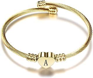 VQYSKO Rose Golden Heart Initials Bracelet-A-Z Stainless Steel Engraved Charm Bracelet, Woman Girl Jewelry Birthday Festiv...