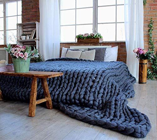 Fankr Decke Handgefertigtes Chunky Gestrickte Wolldecke Überwurf Mode Sofa Decken Yoga Matte Teppich Große Weiche Tagesdecke Navy 100×120cm
