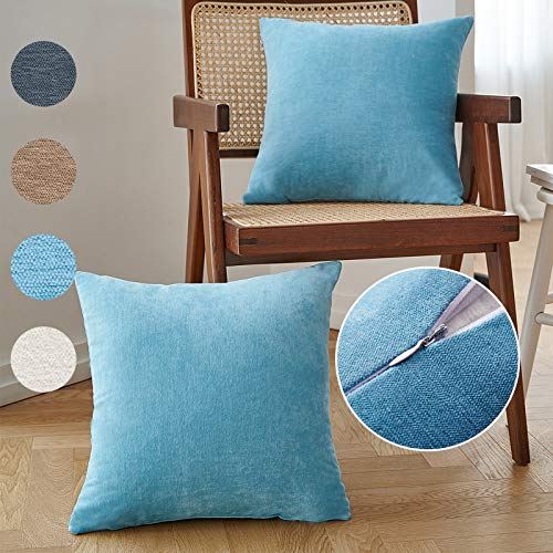NEERYO Super Soft Solid Dyed Decorative Throw Pillow Covers Square Cozy Chenille Silk Touch Pillowcase for Sofa Cushion Comfortable 18 x 18 Inches Baby Blue Pack of 2