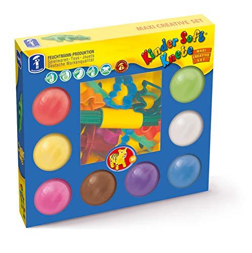 Feuchtmann Spielwaren 6280528 - Kinder Soft Knete Kreativ-Set 26-tlg. mit Knete, Ausstechern, Presse und Modellierwerkzeugen