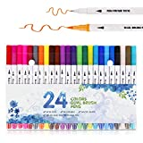 CHUKCHI Dual Tip Pen Marker Set 24 Colors Flexible Brush and Fineliner Tips - Watercolor Effects - Markers Perfect for Adult Coloring Books, Manga, Calligraphy, Hand Lettering, Bullet Journal
