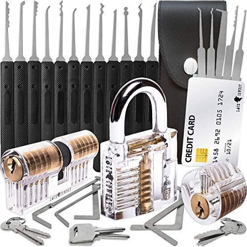 30-teiliges Lockpicking Set mit 3 Transparenten Übungsschlössern + Dietrich-Set in Kreditkartengröße von LockCowboy + Anleitung zum Schlossöffnen für Anfänger und Profis