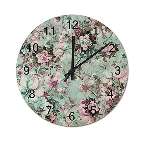 Reloj de Pared Vintage,Flores Antiguas Hermosas Vinta,Relojes de Pared de Madera silenciosos Que no Hacen tictac,Reloj de Pared rústico de Granja para la decoración del Dormitorio de la Sala de Estar