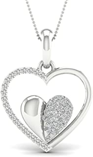 1/4ct Natural Diamond Gold Plated Silver Love Heart Pendant Necklace