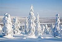 HiYash 8x6ft 雪に覆われた松の木の背景山の背景に雪に覆われた風景写真冬の森スキー雪原スタジオ小道具クリスマス休暇旅行新年ビニールバナー